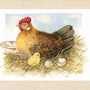 Lanarte Borduurpakket - Moeder kip