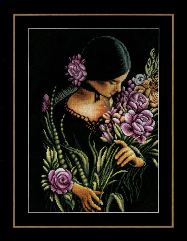 Lanarte Borduurpakket - Vrouw met Bloemen