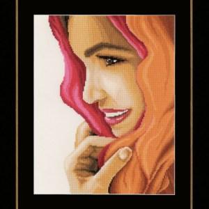 Lanarte Borduurpakket - Vrouw met rode sjaal