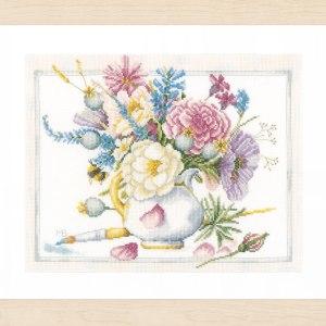 Lanarte Borduurpakket - Witte pot met bloemen