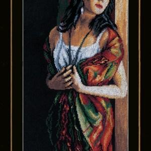 Lanarte Borduurpakket - Dame turend door het raam