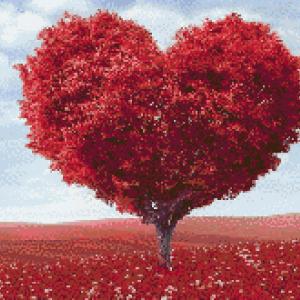 MyHobby borduurpakket - rode hartjes boom