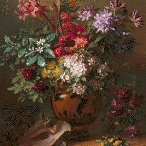 MyHobby borduurpakket - stilleven met bloemen in een Griekse vaas (Van Os)