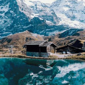MyHobby borduurpakket - besneeuwde bergen bij meer