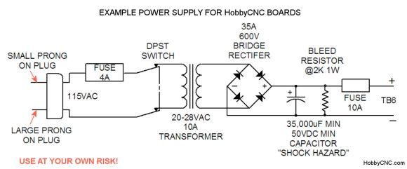 HobbyCNC Power Supply Example