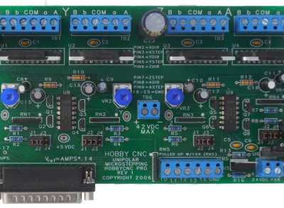 HobbyCNC PRO 4-axis board, shown assembled, drive 4 stepper motors up to 3A each