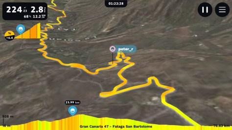 Klim naar uitkijkpunt boven Fataga in Rouvy - Virtueel fietsen