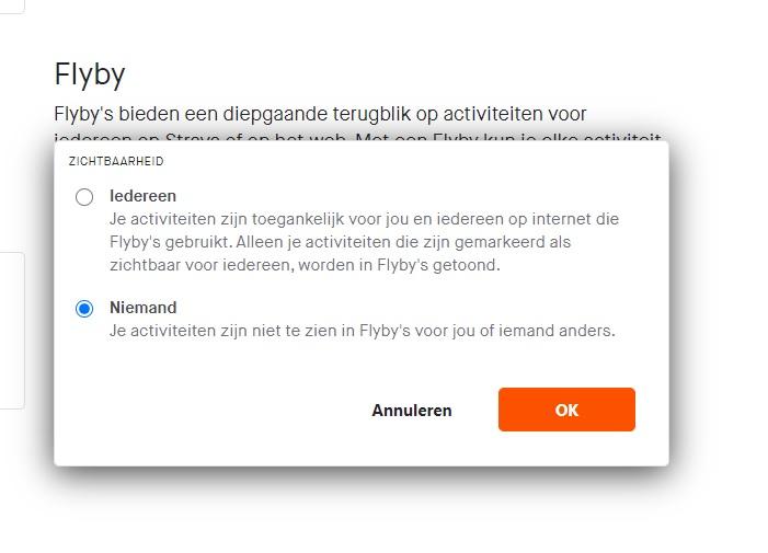 Flyby aanpassen in het privacybeheer van Strava