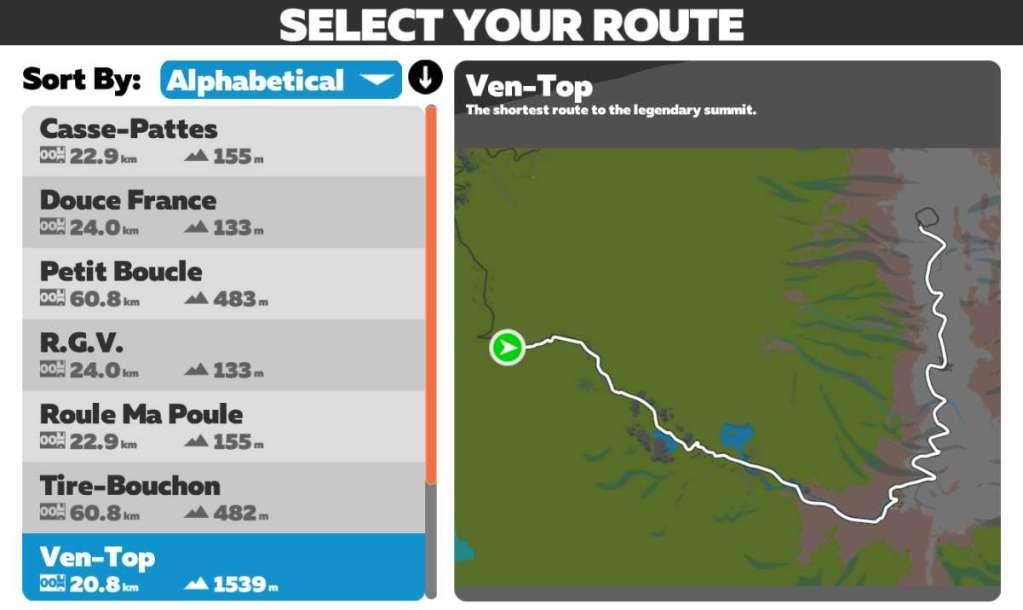 Route van Ven-Top - Zwift