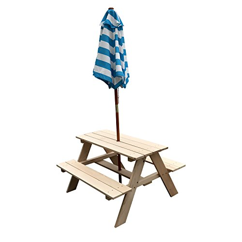 Sliverylake Kids Wooden Outdoor Table Benches W Umbrella