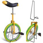 18-Inches-Wheel-Skid-Proof-Tread-Pattern-Unicycle-W-Stand-Uni-Cycle-Bike-Cycling-GREEN-YELLOW-0