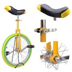 20-Inches-Wheel-Skid-Proof-Tread-Pattern-Unicycle-W-Stand-Uni-Cycle-Bike-Cycling-YELLOW-GREEN-0-1