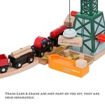 58-Piece-Wooden-Train-Track-Expansion-Pack-Featuring-Container-Ship-Ship-Dock-Train-Station-Rail-Road-Crossing-Compatible-with-Thomas-Wooden-Railway-Brio-Chuggington-Melissa-Doug-Imaginarium-Set-0-2