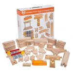 58-Piece-Wooden-Train-Track-Expansion-Pack-Featuring-Container-Ship-Ship-Dock-Train-Station-Rail-Road-Crossing-Compatible-with-Thomas-Wooden-Railway-Brio-Chuggington-Melissa-Doug-Imaginarium-Set-0