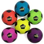 Atomic-Athletics-6-Pack-of-Neon-Rubber-Playground-Soccer-Balls-Regulation-Size-5-85-Balls-with-Air-Pump-and-Mesh-Storage-Bag-by-K-Roo-Sports-0