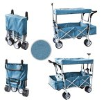 BLUE-FREE-ICE-COOLER-PUSH-AND-PULL-HANDLE-FOLDING-BABY-STROLLER-WAGON-OUTDOOR-SPORT-COLLAPSIBLE-KIDS-TROLLEY-W-CANOPY-GARDEN-UTILITY-SHOPPING-TRAVEL-BEACH-CART-EASY-SETUP-NO-TOOL-NECESSARY-0