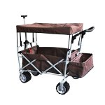 BROWN-FREE-ICE-COOLER-PUSH-AND-PULL-HANDLE-FOLDING-BABY-STROLLER-WAGON-OUTDOOR-SPORT-COLLAPSIBLE-KIDS-TROLLEY-W-CANOPY-GARDEN-UTILITY-SHOPPING-TRAVEL-BEACH-CART-EASY-SETUP-NO-TOOL-NECESSARY-0-0