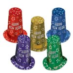 Beistle-80818-10-Assorted-Color-New-Year-Super-Hi-Hats-13-10-Hats-Per-Package-0
