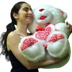 Big-Plump-and-Soft-Teddy-Bear-30-Inches-White-Color-Holding-Red-and-White-Floral-Design-Plush-Heart-Pillow-0-2
