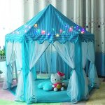 Blue-Hexagon-Play-Castle-Indoor-Kids-Play-Tent-Outdoor-Boys-Girls-Playhouse-with-23ft-LED-Star-String-Lights55Diameter53-Height-0-0