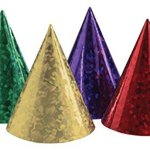 Club-Pack-of-48-Red-Gold-Green-and-Blue-Prismatic-Birthday-Paper-Party-Hats-0
