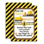 Construction-Digger-Dump-Truck-Custom-Personalized-Birthday-Party-Invitations-for-Boys-Twenty-5-x-7-Cards-Including-20-White-Envelopes-bt-AmandaCreation-0