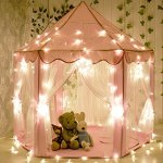 CuteKing-Princess-Castle-Kids-Play-Tent-Children-Large-Playhouse-with-LED-Small-Star-Lights-Pink-0