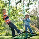 Deluxe-Platform-Hanging-Tree-Swing-for-Yard-or-Playground-Webbed-Nylon-Rope-Mat-and-Padded-Steel-Frame-Multiple-Kids-40-L-x-30-W-0