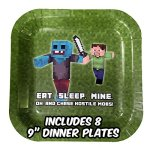 Deluxe-Tableware-Set-for-Pixel-Mine-Crafter-Themed-Party-with-HAPPY-BIRTHDAY-BANNER-Service-for-8-Party-Supplies-Plates-Cups-Cutlery-Napkins-Balloons-Table-Cloth-8-BONUS-Gifts-0-0