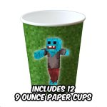 Deluxe-Tableware-Set-for-Pixel-Mine-Crafter-Themed-Party-with-HAPPY-BIRTHDAY-BANNER-Service-for-8-Party-Supplies-Plates-Cups-Cutlery-Napkins-Balloons-Table-Cloth-8-BONUS-Gifts-0-2