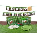 Deluxe-Tableware-Set-for-Pixel-Mine-Crafter-Themed-Party-with-HAPPY-BIRTHDAY-BANNER-Service-for-8-Party-Supplies-Plates-Cups-Cutlery-Napkins-Balloons-Table-Cloth-8-BONUS-Gifts-0