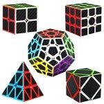 Dreampark-Speed-Cube-Bundle-5-Pack-2×2-3×3-Megaminx-Skewb-Pyramid-Carbon-Fiber-Sticker-Magic-Cube-Puzzle-Toy-Set-of-5-0