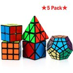 Dreampark-Speed-Cube-Bundle-5-Pack-2×2-3×3-Pyramid-Megaminx-Skewb-Magic-Cube-Puzzle-collection-Toys-for-Kids-and-Adults-Black-0