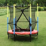 Fun-Family-Kids-Outdoor-Exercise-Springy-Trampoline-55-Round-Mini-Playground-Equipment-With-Enclosure-Net-Pad-0-0