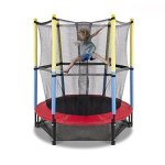 Fun-Family-Kids-Outdoor-Exercise-Springy-Trampoline-55-Round-Mini-Playground-Equipment-With-Enclosure-Net-Pad-0