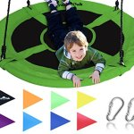 Giant-40-Saucer-Tree-Swing-in-Elite-Green-400-lb-Weight-Capacity-Durable-Steel-Frame-Waterproof-Adjustable-Ropes-Easy-to-Install-Bonus-Flag-Set-and-2-Carabiners-Non-Stop-Fun-for-Kids-0