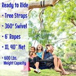 Giant-Tree-Swing-Easy-Install-Hanging-Strap-Set-Adjustable-Ropes-Spinner-Kit-Heavy-Duty-Weatherproof-Spider-Web-Seat-Fully-Assembled-Steel-Frame-Holds-600-lbs-Kids-Adults-0-2