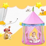 Girls-Princess-Castle-Play-Tents-EocuSun-Christmas-Xmas-Children-Pink-Play-Tent-House-with-Storage-Case-for-Indoor-and-Outdoor-Use-Santa-Gifts-0-2
