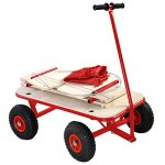 Goplus-Children-Kids-Toys-Cart-Wagon-Stroller-Outdoor-w-Wood-Railing-Red-Covered-New-0-0