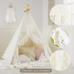 HAN-MM-Floral-Classic-Ivory-Kids-Teepee-Kids-Play-Tent-Childrens-Play-House-Tipi-Kids-Room-Decor-0-2