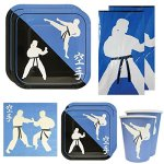 Karate-Deluxe-Party-Packs-70-Pieces-for-16-Guests-Karate-Birthday-Supplies-Tableware-Sets-Martial-Arts-Party-Decorations-0