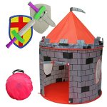 Kiddey-Knights-Castle-Kids-Play-Tent-Indoor-Outdoor-Childrens-Playhouse-Durable-Portable-with-Free-Carrying-Bag–BONUS-Shield-and-Sword-Set-Makes-Perfect-Gift-for-Boys-Girls-0