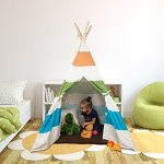 Kids-Canvas-Teepee-Tent-100-Cotton-with-Pine-Wood-Frame-WhiteGrey-Stripes-5-ft-Tall-Tee-Pee-Collapsible-for-easy-storage-0-0