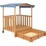 Kids-Outdoor-Retractable-Playhouse-Fort-With-Sandbox-Childrens-Play-Area-0