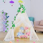 Kids-Teepee-TentLarge-Lace-Play-Tent-for-Children-Gift-Outdoor-and-Indoor-Playhouse-Decoration-With-Flag-and-Carry-Case-0