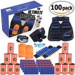 Kids-Ultimate-Tactical-Vest-100-Piece-Kit-for-N-Strike-Elite-Nerf-with-Tactical-Vest-Holster-Belt-2-Wrist-Bands-2-Quick-Reloads12-Foam-Cans-Mask-Glasses-80-Refill-Darts-ULTRA-VALUE-PACK-0