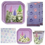 Kitten-Deluxe-Party-Packs-70-Pieces-for-16-Guests-Kitten-Party-Decorations-Cat-Birthday-Supplies-0