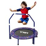 LBLA-Little-Kids-Trampoline-with-Adjustable-Handrail-and-Safety-Padded-Cover-Mini-Foldable-Bungee-Rebounder-0