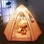 Large-Princess-Tent-for-GirlsHexagon-ShapeFoldable-Pink-Princess-Catle-Tent-for-Indoor-Use-by-LabobbonNot-Included-Light-and-Balls-0