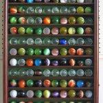 Large-ToyAntiqueGlass-Marble-BallsBouncy-Ball-Display-Case-Holder-Cabinet-WALNUT-Finish-0